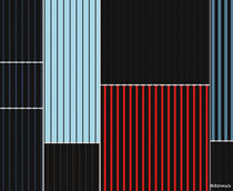 Geometrisch-abstrakte Komposition in Schwarz, Blau, Rot, Weiß und Braun von badrig