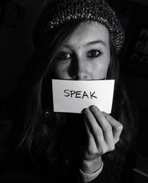 Speak (black and white) by Audrey Francis