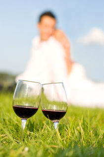 Picnic two wineglasses with red wine by Arletta Cwalina