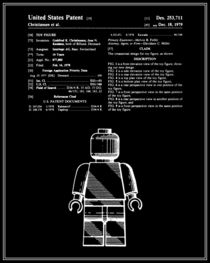 Lego Man Patent - Black and White (v1) by Finlay McNevin