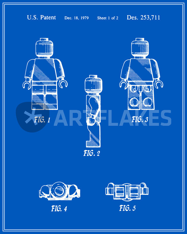 Lego man patent blueprint v2 digital art art prints and posters lego man v2 blueprint malvernweather Choice Image