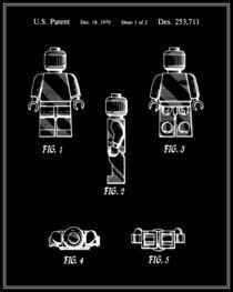 Lego Man Patent - Black and White (v2) von Finlay McNevin