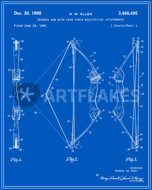 Archery bow patent blueprint digital art art prints and posters archery bow blueprint malvernweather Images
