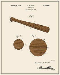 Baseball Bat Patent - Colour von Finlay McNevin