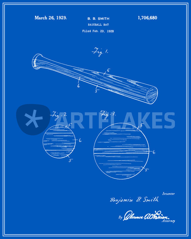 Baseball bat patent blueprint digital art art prints and posters baseball bat patent blueprint malvernweather Gallery