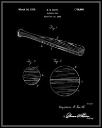 Baseball Bat Patent - Black and White von Finlay McNevin