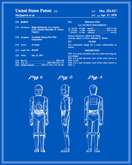 C3p0 patent blueprint digital art art prints and posters by c3p0 patent blueprint malvernweather Image collections