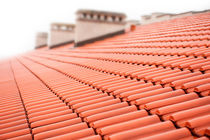 Overlapping rows of red tiles roof von Arletta Cwalina