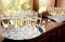 Wedding banquet champagne glasses by Arletta Cwalina