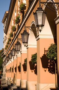 Row of lamps on columns of building by Arletta Cwalina