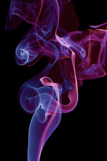 blue pink whirl twisted smoke abstract by Arletta Cwalina