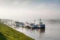 Tourist ferry ships at Vistula River by Arletta Cwalina