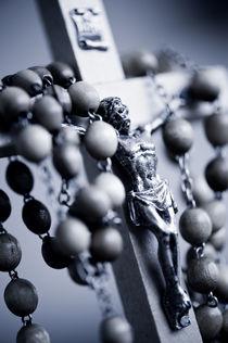Blue toned Jesus rosary by Arletta Cwalina
