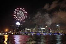 Skyline Miami mit Feuerwerk von Mario Hommes