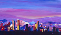 Denver Colorado Skyline with luminous Rocky Mountains von M.  Bleichner