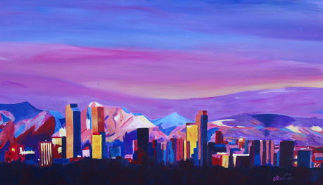 Denver-colorado-sunset-mood-with-mountains