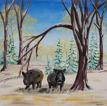 Wildschweine im Winter von Barbara Kaiser