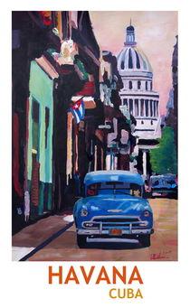 Poster Havana Cuba Street Scene Oldtimer Retro by M.  Bleichner