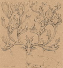 Deer with birds von Elisaveta Sivas