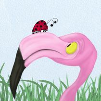 Fiona The Flamingo And Her Visitor by Michelle Brenmark