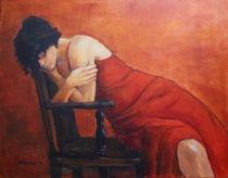 Frau im rotem Kleid von alfons niex