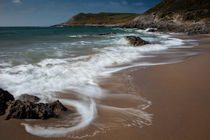 Swirling waves at Fall Bay Gower Swansea by Leighton Collins