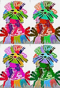 Funky pop art hedgehog's by Amanda Elizabeth  Sullivan
