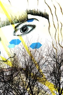 berlin street art behind trees  by mateart