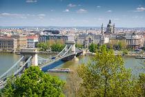 Kettenbrücke Donau und Stadtteil Pest - Budapest Ungarn von Matthias Hauser