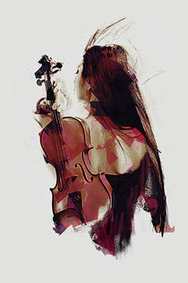 Woman with Violin by Galen Valle