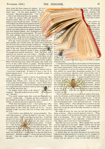 "Vintage dictionary poster, ""Among the books"" by Gloria Sánchez"