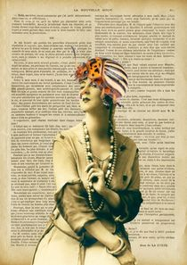 "Vintage dictionary poster, ""Woman with beetle hat"" by Gloria Sánchez"