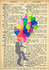 "Vintage dictionary poster, ""Balloon man"" by Gloria Sánchez"