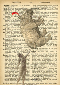 "Vintage dictionary poster, ""Ballerina, Rhino and Chile"" by Gloria Sánchez"