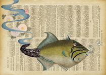 """Vintage dictionary poster, """"The fish"""". by Gloria Sánchez"""