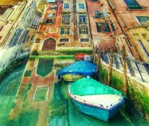 'Little canal with boats in Venice' von lanjee chee