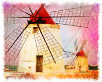 Old windmill in sicily by lanjee chee