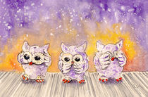 The Three Wise Owls From Salobrena von Miki de Goodaboom