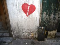Klinge-Herz mit Zigarette hard-style London zerbrochenes Herz Wandmalerei von Sarah Katharina Kayß