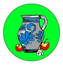 Bembel mit Apfelmotiv. Grün. von Hans-Peter Scherbaum