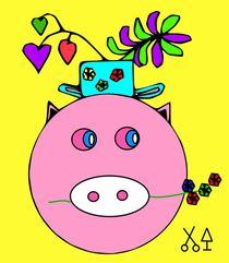 Glücksschweinchen mit Hut. by Hans-Peter Scherbaum