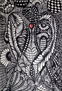 Engel des herzen Zentangle by Asri  Ballandat - Knobbe