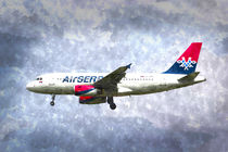 Air Serbia Airbus A319 Art by David Pyatt