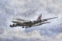 Qatar Airlines Airbus And Seagull Escort Art by David Pyatt