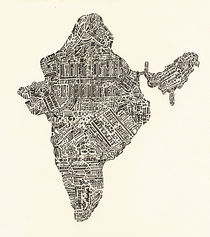 Lettering map of India by Mariana Beldi