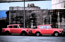 Two Red Ford Anglias  by Elizabetha Fox