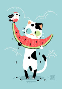 Watermelon Cat von freeminds