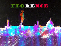 Florence Skyline With Flag Banner by bill holkham