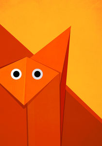 Geometric-cute-origami-fox-portrait-poster