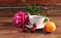 Peony, a cup of coffee, cherry and peach on a wooden background by larisa-koshkina